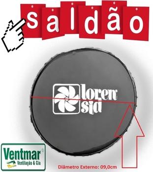 Emblema da Grade do Ventilador Loren Sid Turbo Atual 30/40cm - Diâmetro Externo 09cm - Cor Preta - SALDÃO C/RISCOS - PREÇO REDUZIDO