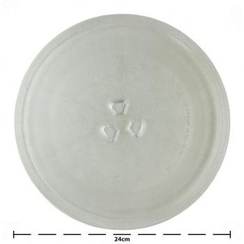 Prato de Vidro para Microondas 24cm Encaixe Trevo 245mm