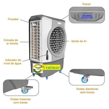 Climatizador de Ar Evaporativo Portátil 41Litros MWM M4500 127Volts - Painel Touch Screen - Vazão Real 4.500m3/h - FCBOCP 0003