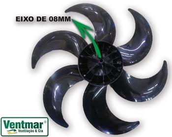 Hélice para Ventilador ARNO 40cm 6Pás Preta - Arno VE40 TS40 VR40 - Furo 08mm Trava Cruzeta D-38cm -