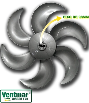 Hélice para Circulador ARNO 40cm 6Pás Cinza - Arno CC96 CC97 - Furo 08mm Trava Cruzeta com Mola - ORIGINAL
