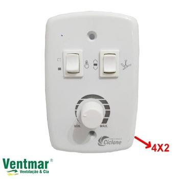 Chave para Ventilador de Teto Ciclone - Branca Controle de Velocidade Rotativo Bivolts. 1-Tecla Liga/Desliga/Reverte +1-Tecla Liga+Desliga Luz