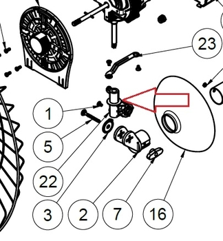 Suporte do Motor Ventilador Ventisol 70cm Power - Mecanismo do Oscilante do Ventilador Ventisol 70cm Power Preto