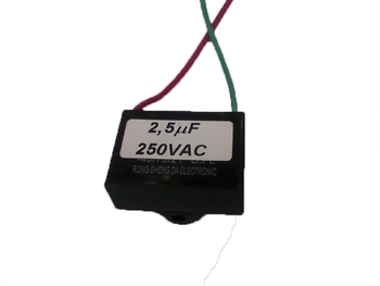 Capacitor para Ventilador de Teto Ventisol 2,5uF 2Fios 250VAC - Original Ventisol - Capacitor Quadrado