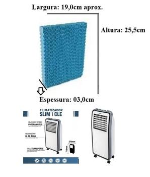 Colmeia para Climatizador Ventisol CLE - Parte Traseira - Espessura 3,0cm x L19 x A25,5cm - Painel Evaporativo Trazeiro - COLMEIAVTS