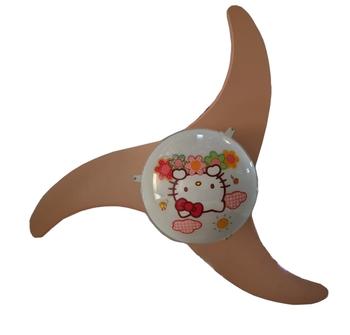 Ventilador de Teto Venti-Delta Hello Kitty Infantil 127v 3v10,0uF - Motor Branco - Vidro 30cm - 3pás