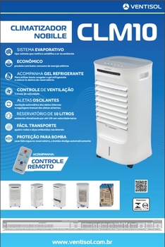 Climatizador de Ar Evaporativo Portátil 10Litros 127v 65w Vazão 1.440m3/h - Controle Remoto Total - Climatizador Residencial Nobille CLM10-01