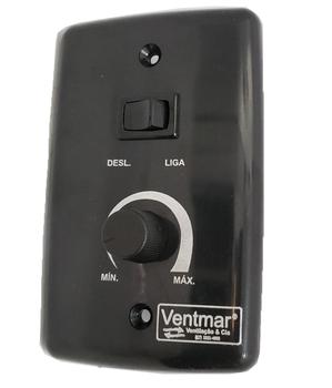 Chave para Ventilador de Parede 1-Tecla Liga/Desliga c/Controle de Velocidade Rotativo Bivolts 0400Watts Preta - Apenas Espelho 4x2 Preto