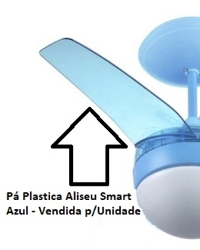Pa Helice para Ventilador de Teto Aliseu Inspire Nano - Plastica Azul Translucida - Vendida p/Unidade - Pa Aliseu Inspire Nano Azul
