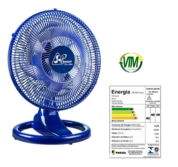 Ventilador de Mesa 50cm Venti-Delta Premium Bivolts 170w - Azul Grade Plástica Azul - Hélice 6Pás - Ventilador para Mesa ou Parede