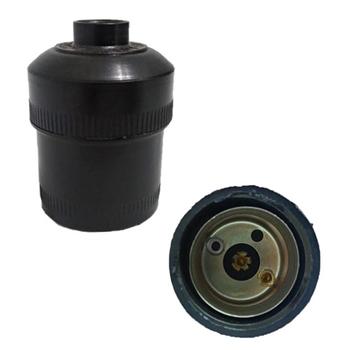 Soquete de Plástico Comum para Lâmpada E-27 Preto sem Chave Miolo Borne