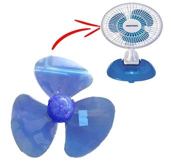 Hélice para Ventilador Ventisol 20cm Azul 3Pás Plástica - Encaixe Eixo 3,0mm Ponta Redonda c/Trava Traseira -  Helice para Microventilador Mini