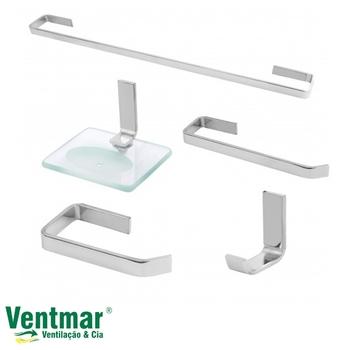 Kit Acessórios para Banheiro 5 Peças Semi-Luxo Vidro e Metal Cromado - Thaygra