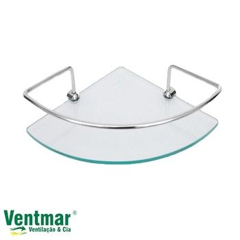 Porta Shampoo Simples de Canto Vidro e Metal Cromado - Thaygra