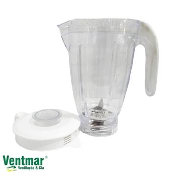 Copo para Liquidificador Walita - Copo para Liquidificador Philips RI2044 Cristal Com Tampa Branca