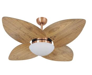 Ventilador de Teto Volare Dunamis Cobre VD42 127v Chave 3Velocidades - 4Pás Madeira Radica Frejo