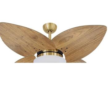 Ventilador de Teto Volare Dourado VD42 Dunamis 127v Chave 3Velocidades - 4Pás Radica Imbuia