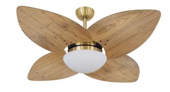 Ventilador de Teto Volare Dunamis Dourado VD42 127v 10,5uF Chave 3Velocidades - 4Pás Madeira Radica Frejo
