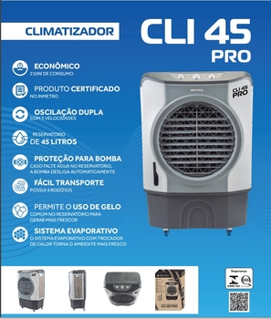 Climatizador de Ar Evaporativo Portátil 045Litros 220v210w Ventisol CLIPRO45 Vazão 4.500m3h Área até 50m2 Controle 3Velocidades - Ventisol CLI45PRO