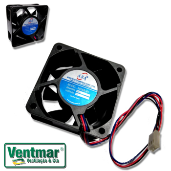 Exaustor Microventilador 06cm 24Volts - Cooler Asafan 60X60X25mm 24V Mini Fan 6025B-24V