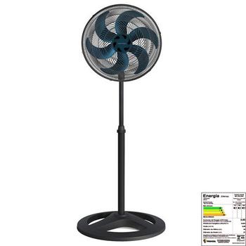 Ventilador De Coluna 50cm 127v06uf 135w Ventisol Turbo 6Pas Premium - Preto Hélice 6Pas Azul Eixo 8,0mm