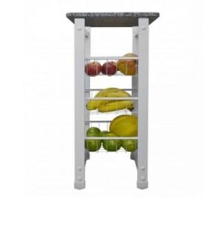Fruteira em Metal Branca Desmontavel c/Tampo de Granito 45cm - Medidas A810 x L400 x P290mm - Peso 13,100KG