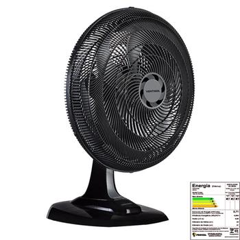 Ventilador de Mesa 50cm Ventisol Turbo 6Pás 220v 80w Preto Helice 6Pas Cinza - Controle de Velocidade - Ventilador se Adapta p/Parede