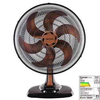 Ventilador de Mesa 50cm Ventisol Turbo 6Pás 127v 80w Preto Helice 6Pas Bronze - Controle de Velocidade - Ventilador se Adapta p/Parede