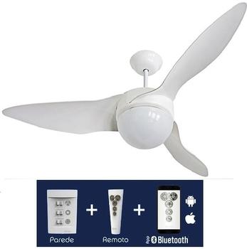 Ventilador de Teto Aliseu Terral 127v 150w cor Branca Luminária p/2 Lâmpadas Chave/Controle Remoto Bluetooth *Maior Ventilação+Silencioso *Consumo A*