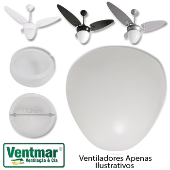 Globo Cúpula Plástica Para Ventilador ARGE Cosmos LUNAR - Encaixe 176mm