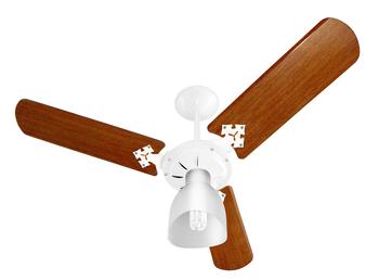 Ventilador de Teto Venti-Delta Super Light 127v10,0uF 130W Branco 3Pás MDF Mogno 1Luz Chave 3Velocidades - Consumo A