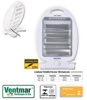 Aquecedor de Ambientes Doméstico 220v 800w Ventisol AQ-02 Luz Quartzo - (OCP-0040 SGS)