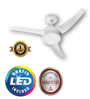 Ventilador de Teto Venti-Delta Lunik 127V130W Branco 3Pás Luminária LED18W Controle Remoto Total - Ventilador Lunik Silencioso - Consumo A
