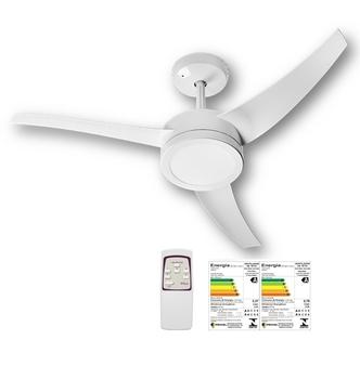 Ventilador de Teto Lunik Venti-Delta 127Volts Branco 3Pás Brancas - Luminária LED18W com Controle Remoto