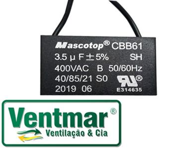 Capacitor para Ventilador Ventisol 03,5uF 400VAC 2Fios - Capacitor para Ventilador Venti-Delta Ventura - Capacitor Quadrado - CAP003,5