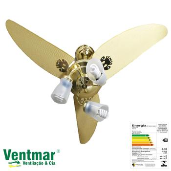 Ventilador de Teto RiopreLustre Athenas Dourado 127V10,0 -  3Pás - 3Tulipas - Chave 3Velocidades - Kit Luxo