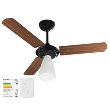 Ventilador De Teto Ventisol Wind Light Premium 127v Preto 3Pás Madeira cor Mogno - Chave 3Velocidades - Consumo A