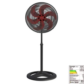 Ventilador De Coluna 50cm 127v06uF 135w Ventisol Turbo 6Pas Premium - Preto Hélice 6Pas Vermelha Eixo 8,0mm