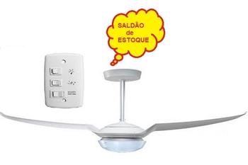 Ventilador de Teto 2Pás IC_Air Light 127v Branco K2 c/Luminária p/02-Lâmpadas Chave 3Velocidades