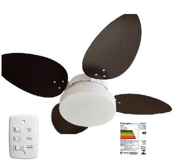 Ventilador de Teto Volare Premium Branco 4Pás MDF Pétalo Tabaco 127v10,5uF Chave 3Vel c/Luminária Londres p/02-Lâmpadas