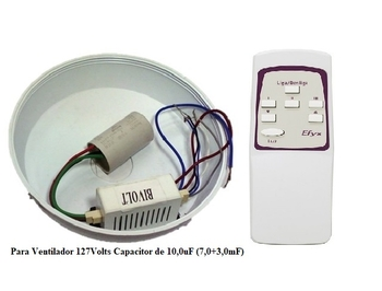 Controle Remoto Ventilador Venti-Delta Efyx Lunik 127volts - Infra Vermelho - KIT-T+R Capacitor 3Fios 07,5uF (4,5+3,0mF)