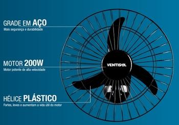 Ventilador de Parede 60cm Ventisol Bivolts Comercial 200w Preto - Chave com Controle de Velocidade - Hélice 3Pás