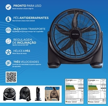 Ventilador de Mesa 50cm Ventisol 220v 130w Preto - Circulador de Ar Portátil 50cm MOD-CA 02 220V Premium Preto 130w