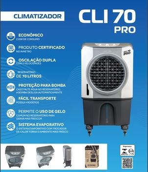 Climatizador de Ar Evaporativo Portátil 70Litros 220v 210w Vazão 05000m3/h Climatizador Evaporativo - CLI70PRO-02
