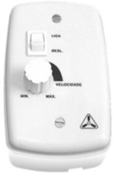 Chave para Ventilador de Parede 1-Tecla Liga/Desliga c/Controle de Velocidade Rotativo Bivolts 0400Watts - Branca c/Caixa Fundo Sobrepor Espelho 4x2 B