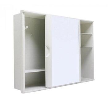 Armário para Banheiro com Espelho 28,5x41cm e Porta de Correr - Embutir ou Sobrepor - Modelo A21 Branco Plástico - Astra