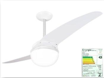Ventilador de Teto Spirit 202 2Pás Branco 127v c/Luminária p/2-Lâmpadas - Chave 3Velocidades