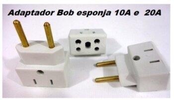 Pino Adaptador para Tomadas KIT-03UN Adaptador de Tomada Bob Esponge  10A - 20A/250V - Bob Esponja