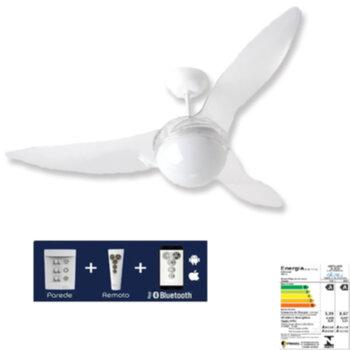Ventilador de Teto Aliseu Terral PLUS 127v Cristal Luminária p/2Lâmpadas Chave 3Velocidades Controle Remoto c/Bluetooth - Maior Ventilação +Silencioso